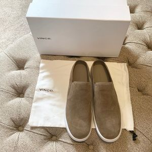 Vince Verrell Tan Suede Slip On Sneakers